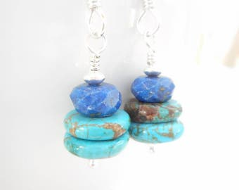 Turquoise and Lapis Lazuli Earrings, Sterling Silver Genuine Gemstone Jewelry, Rustic Blue Stone Bead Dangle Earrings, December Birthstone
