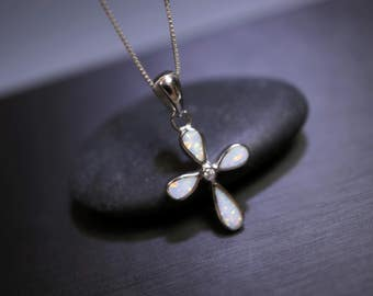 Opal Cross Necklace - Full Sterling Silver Cross Pendant - White Opal Necklace - Tiny White Stone Cross Necklace - White Fire Opal Pendant