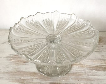 Vintage Clear Geometric Pressed Glass Pedestal Cake Stand
