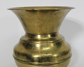 """Vintage Brass Spittoon, 7"""" Cuspidor Chewing Tobacco 1940s"""