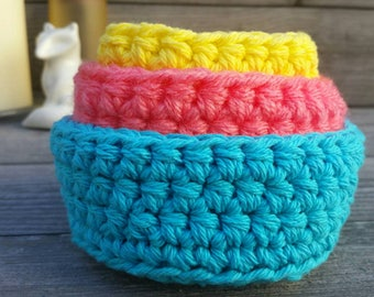 Crochet Nesting Bowls, Crochet Bowls, Home Decor, Storage Bowls, Small Bowls, Hygge, Gift for Her, Cozy Home, Hygge Decor