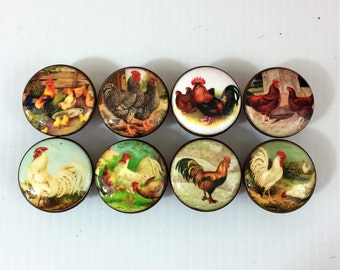 Set of 8 Country Chicken Rooster  Cabinet Knobs