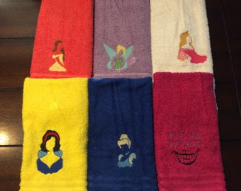 towel set with princesses Snow White/sleeping beauty/ belle/tinker belle/Cinderella/Alice Cheshire cat
