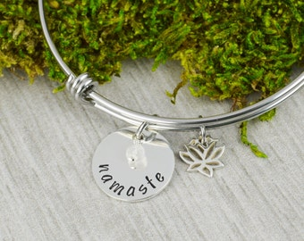Namaste Adjustable Bangle Bracelet with Lotus Charm - Stacking Yoga Bangles