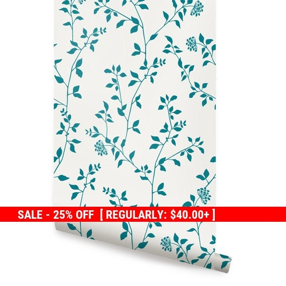 Black friday sale branch flower teal peel stick by for Teal peel and stick wallpaper