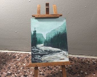 Painting on Board, Mini Painting on Board w/ Easel, Colin Craig Landscape, Canadian Artist Mountain Landscape Scene