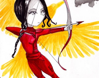 Ana Dess in Katniss Everdeen (Hunger Games) - Original drawing