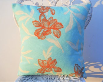 Pillow Cover, Indoor/Outdoor Pillow Cover, 18 Inch Pillow Case, Pillow Cushion Cover, Floral Sun/Shade Pillow Cover,Turquoise/Beige/Coral