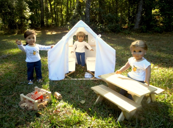 Doll CAMPING SET Handcrafted for 18 Inch dolls such as American Girl®  2-Doll Tent, 2 Cots, Picnic Table, and Campfire