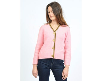 Vintage Pink and Green Cardigan Sweater with Gold Buttons