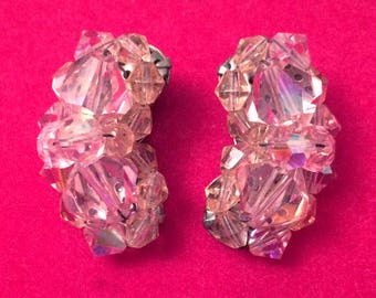 Wow! Vintage 50's AB Aurora Borealis Pink Crystal Crescent Clip On Earrings