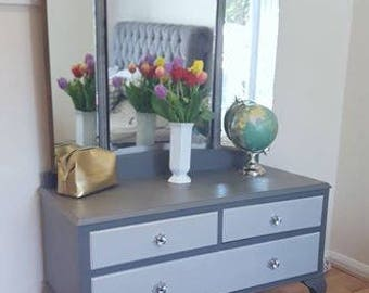 NOW *SOLD*  Beautiful Vintage Dressing Chest with Triple Aspect Mirror on Queen Anne Legs Dark & Light Grey Bedroom Furniture