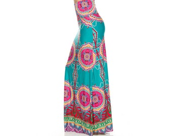 Teal and Pink Maxi Skirt, fitted maxi, long skirt boho clothing, hippie clothes, Bohemian, maxi, mandala, gypsy, flowy dress, funky skirt