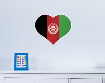 Heart Shaped National Flag of Afghanistan Vinyl Wall Art