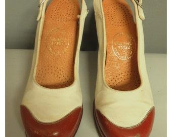 vintage 40's pump swing shoes   brown/ivory   35/36 european