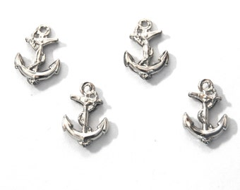 4x Silver Plated Double Sided Anchor Charm - M123