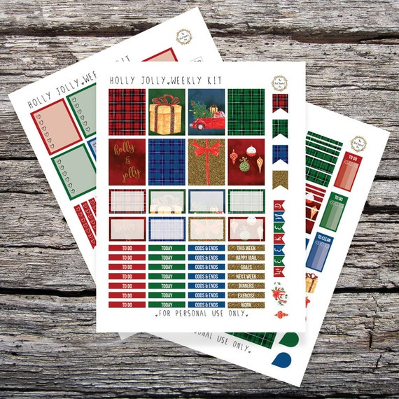 Holly Jolly Christmas: Printable Planner Stickers for Erin Condren Vertical (PDF)