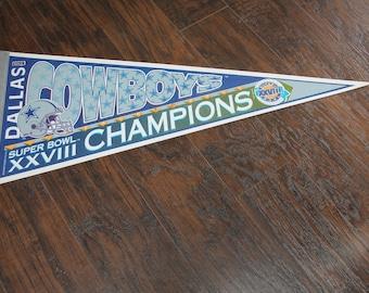 Vintage 1993 Dallas Cowboys Superbowl Champions Pennant