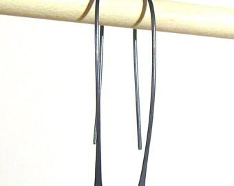 Black niobium open hoop earrings Hypoallergenic threader earrings