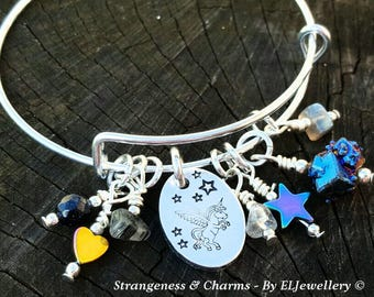 Hand Stamped 'Pegasus Unicorn' Aluminium Charm Bangle, Beads, Genstones, Winged Unicorn, Charm Bangle,Bracelet, Magical,Unicorn Jewelry.