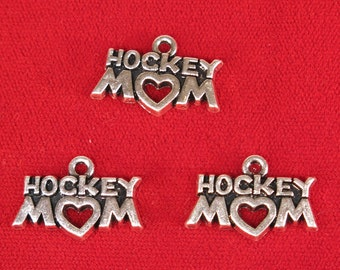 "5pc ""Hockey mom"" charms in silver style (BC1169)"