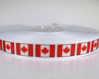 "5 yards of 5/8 inch ""Canada flag"" grosgrain ribbon"