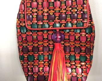 Vintage 80's Sharif Bright Colors Woven Patchwork Leather Cross-body/Shoulder Bag