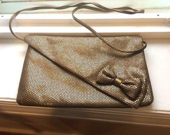 Vintage Lumared Bronze Mesh Micro Tile Cross-Body With Bow Handbag