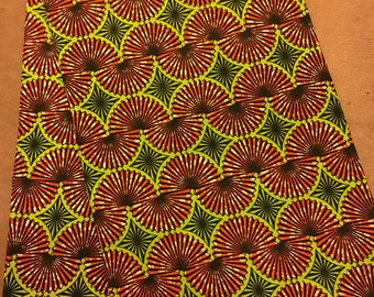 African fabric online UK, beautiful summer flower ankara fabric, green yellow and orange fabric, African print fabric, flowers, ankara