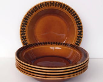 Stavangerflint amber coloured soup bowls with a black diamond pattern, made in Norway