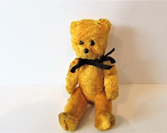 Tiny German Vintage Gold Fur Covered Hard Bear   / MEMsArtShop