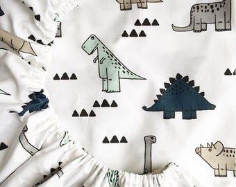 Fitted Cot / Crib sheet - Dinosaur Medley - Made to Order