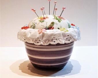 Handmade Pincushion, Spring Floral Pincushion, Purple Striped Pincushion, Sewing Gift, Sewing Room, Ceramic Pincushion, by FairyLace Designs