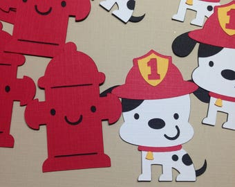 Dalmatian and Fire Hydrant Cut Outs ~ 2 inch Dalmatian and Fire Hydrant Die Cuts, Fireman Party, Fire Fighter Party, Paper Dalmatian Dog,