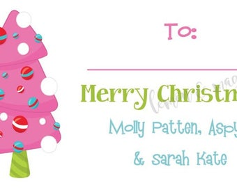 Pink and Green Funky Tree Personalized Christmas Gift Tag