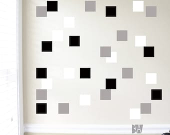 Black and White Decals. Geometric Wall Decor. Square Vinyl Decals. Wall Decal. Living room wall decal. Wall sticker. Home decor decals.