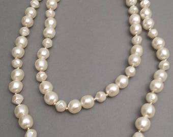 40 inch pearls   simple pearls   vintage beads   long white beads