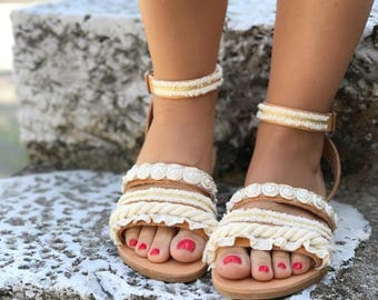 """Handmade Leather Sandals White & Gold Lace / Natural Greek Genuine Leather / Cotton lace / Ivory, White, Gold Colors / Bridal Sandals """"Aria"""""""