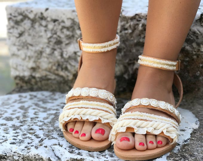 "Handmade Leather Sandals White & Gold Lace / Natural Greek Genuine Leather / Cotton lace / Ivory, White, Gold Colors / Bridal Sandals ""Aria"""