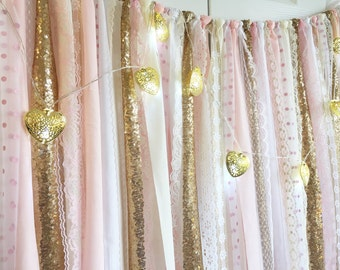 Blush Pink with Gold Sequin Fabric Garland Backdrop - birthday, baby shower, wedding ... Fabric, Sequin and Lace
