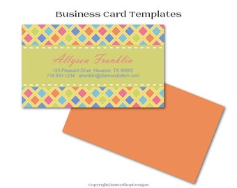 Business Card,Premade Business Card Design-Diamond Shape,Solid Color-Orange,Green,Pink-Business Card Template For Printing at Vistaprint.com