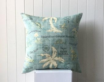 Outdoor / Indoor Handmade 42cm x 42cm Cushion / Pillow Cover Aqua Palm and Surf