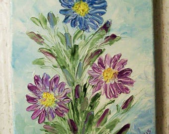 Oil Painting, Original 11x14, Floral Knife Painting, Painted in the USA