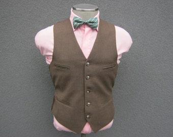 1950s Pinstripe Suit Vest / Brown Wool Waistcoat / Vintage Wedding / Size 36 Small / Mens Vest / 60s Formal Vest / Men / Ivy League