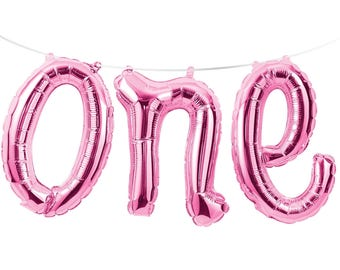 Pink ONE Foil Balloon Banner Garland - 1st Birthday Party Decoration