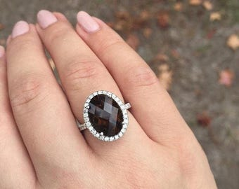 14K White Gold Smoky Topaz Ring accented with sparkling diamond stones