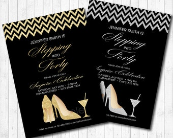 Glitter High Heels Invitation, Adult Women Birthday Invitation, Fabulous Glitter Shoes Invitation, Gold, Silver, Printable