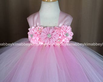Flower girl tutu dress in ivory and pink