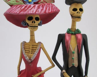 CATRINA SET 0f 2 mexican day of the dead couple  wholesale lot  folk art 13""