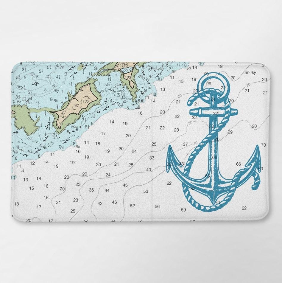 Anchor Bathroom Rug: Nautical Map Bath Rug Nautical Bathroom Anchor Bath Mat